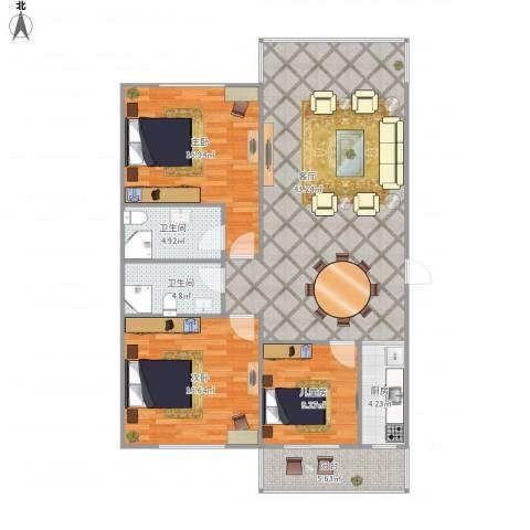 惠祥公馆3室1厅2卫1厨141.00㎡户型图