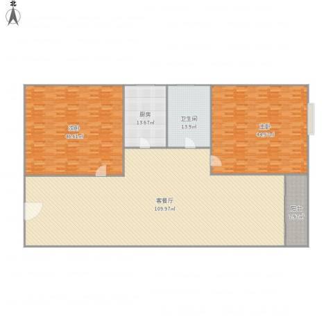 东豪苑2室1厅1卫1厨308.00㎡户型图