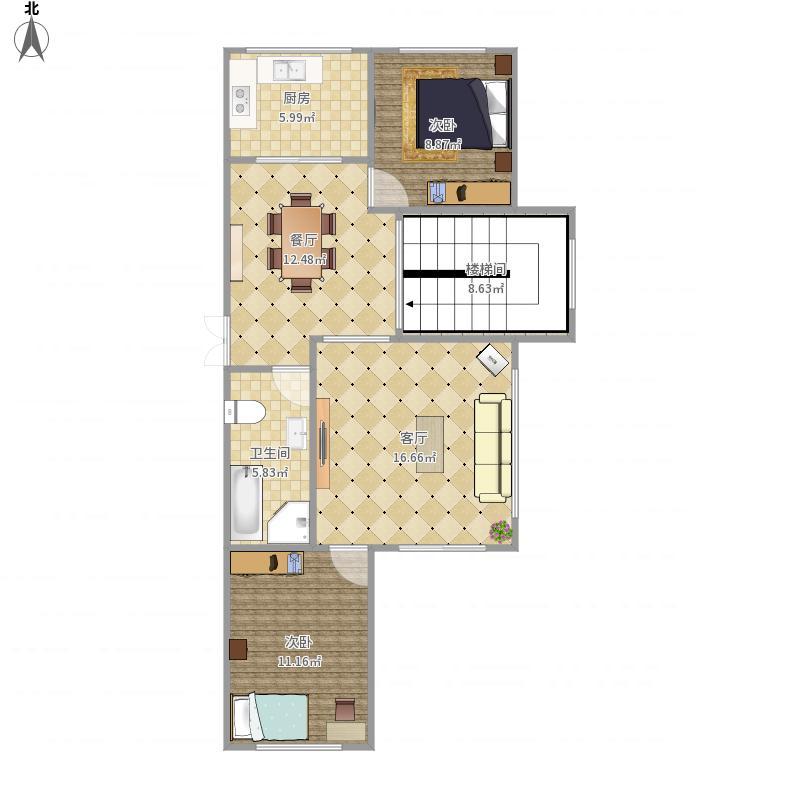 赤峰-英伦香榭水都-D户型一层-设计方案