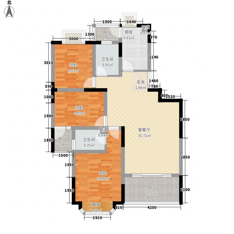 千城凤梧金沙116.84㎡D2户型3室2厅2卫1厨