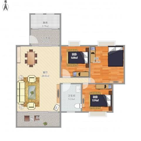 宝翠花园3室1厅1卫1厨101.00㎡户型图