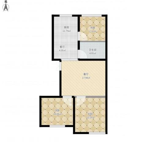蒙东绒毛商贸城3室1厅1卫1厨90.00㎡户型图