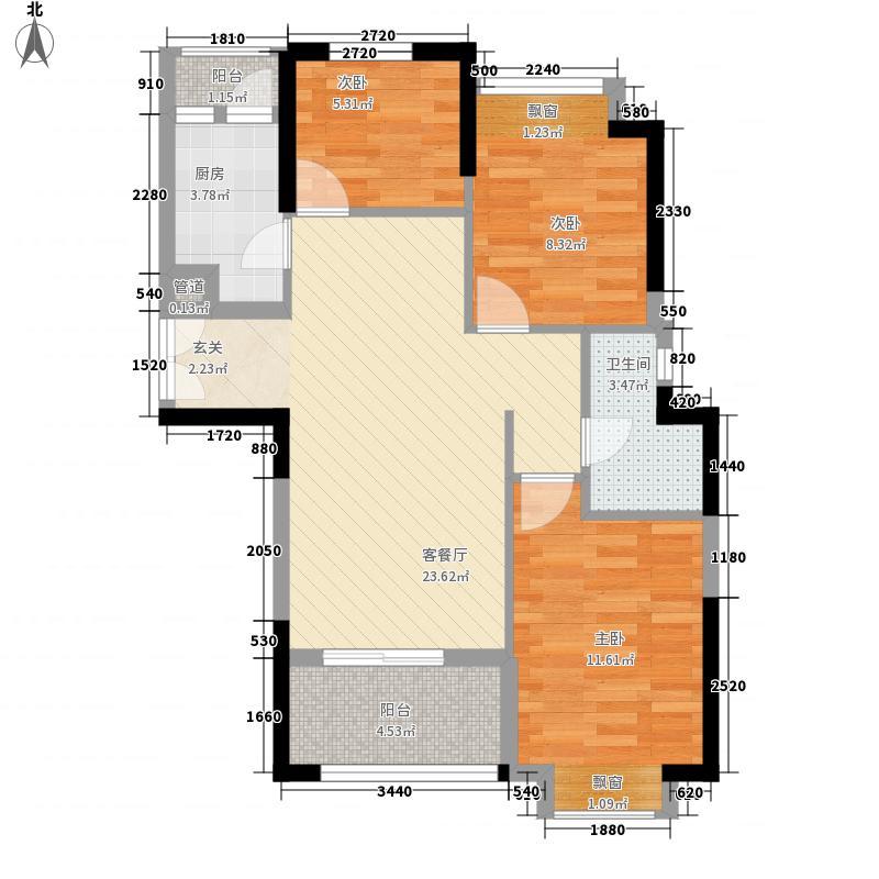 美伦东锦缘8.20㎡(2)户型3室1厅1卫1厨
