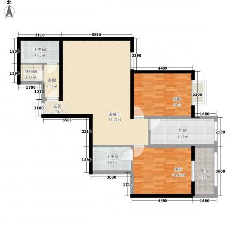 紫气东来2室1厅2卫1厨163.00㎡户型图