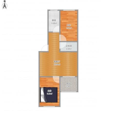 望园西里2室1厅1卫1厨55.00㎡户型图