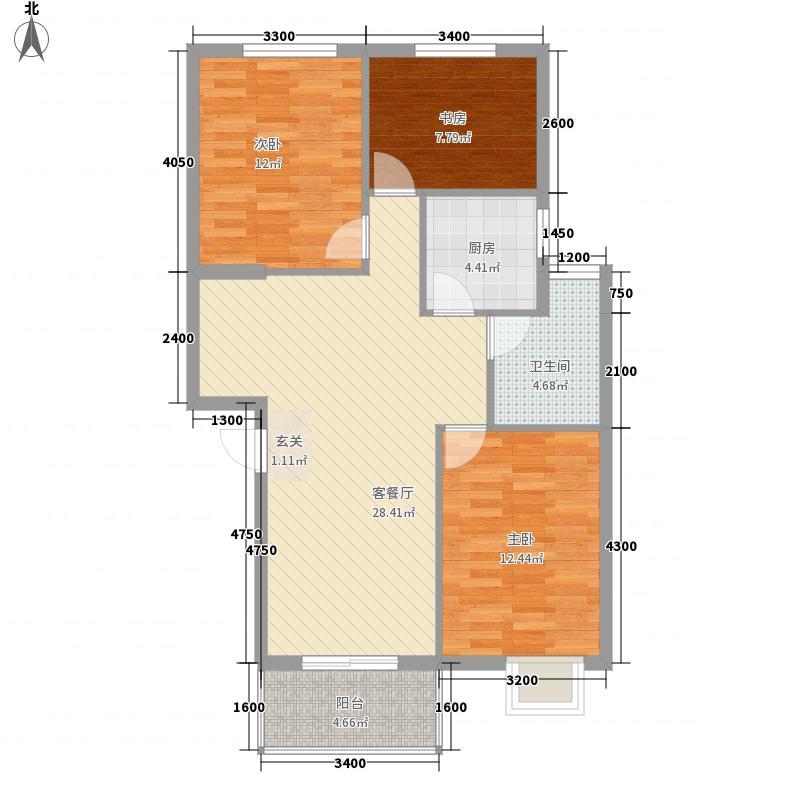 祥云春晓四期4.30㎡1#楼A户型3室2厅1卫1厨