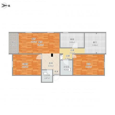 科达公寓2室1厅2卫1厨120.00㎡户型图