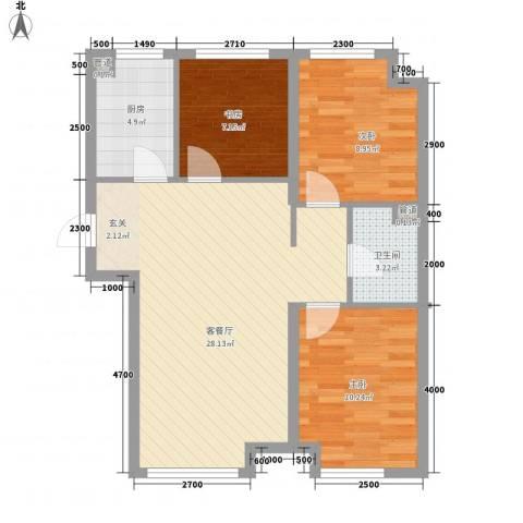 新湖青蓝国际3室1厅1卫1厨89.00㎡户型图