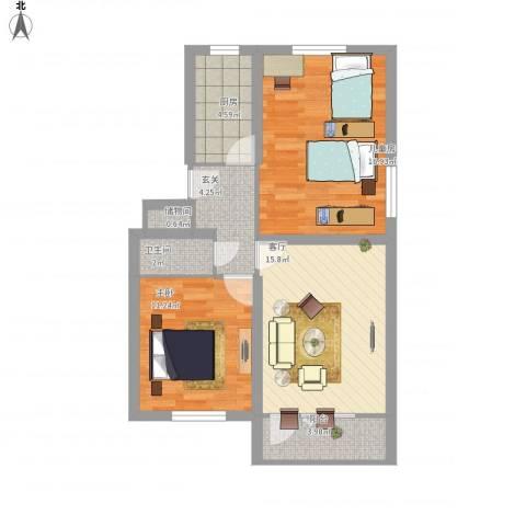 学院南路2室1厅1卫1厨68.85㎡户型图