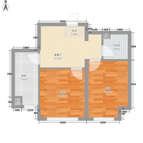 新湖青蓝国际2室1厅1卫1厨61.00㎡户型图