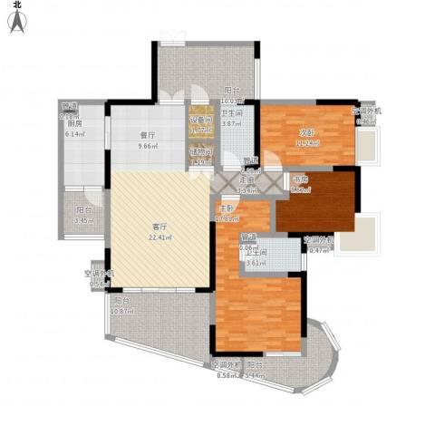育才竹岛3室1厅2卫1厨144.00㎡户型图