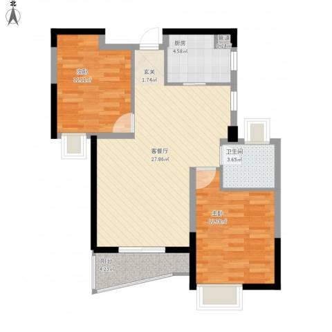 南昌铜锣湾广场2室1厅1卫1厨91.00㎡户型图