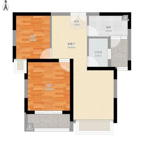 聚金万佳苑2室1厅1卫1厨78.00㎡户型图