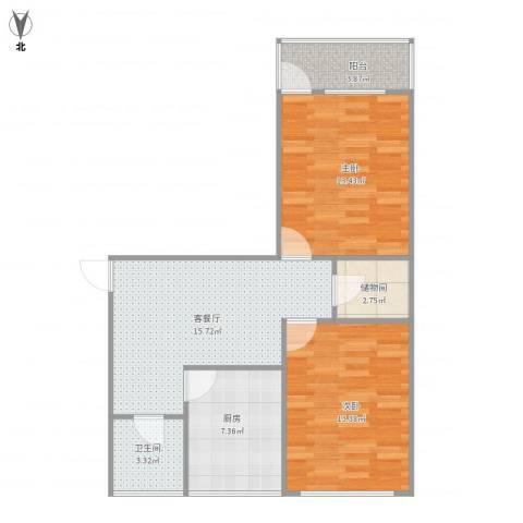 东港宿舍2室1厅1卫1厨81.00㎡户型图