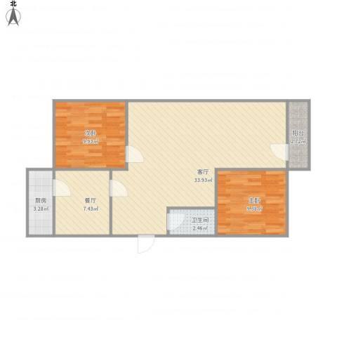 七里堡小区2室2厅1卫1厨93.00㎡户型图