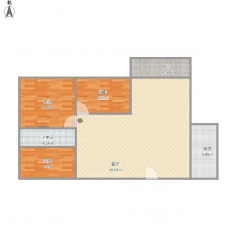 吉莲新村3房3室1厅1卫1厨110.00㎡户型图