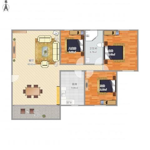 昌盛楼3室1厅1卫1厨138.00㎡户型图