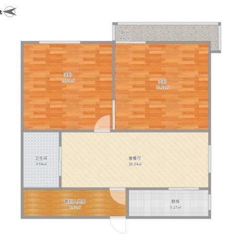 泰和苑2室1厅1卫1厨109.00㎡户型图