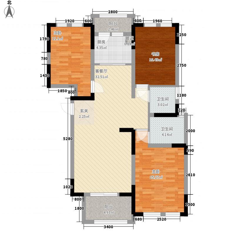 香滨国际116.71㎡F4双卫户型3室2厅2卫1厨