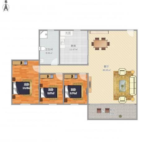 珠江小区3室1厅1卫1厨145.00㎡户型图