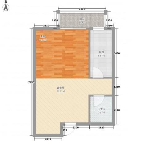 汇元四季橙1厅1卫1厨43.59㎡户型图