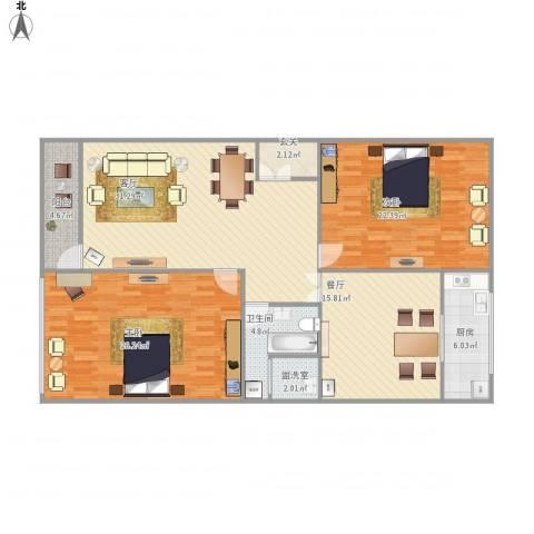 紫薇花园2室3厅1卫1厨154.00㎡户型图