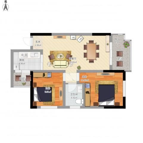 涪陵金科廊桥水岸2室1厅1卫1厨86.00㎡户型图