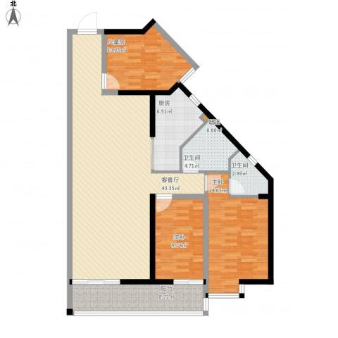 禹洲大学城3室1厅2卫1厨144.00㎡户型图