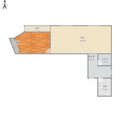 安慧北里逸园24号楼110两居1室2厅1卫1厨104.00㎡户型图