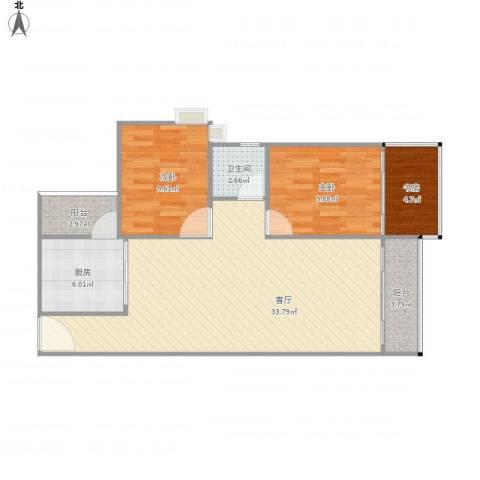 中环星座3室1厅1卫1厨99.00㎡户型图