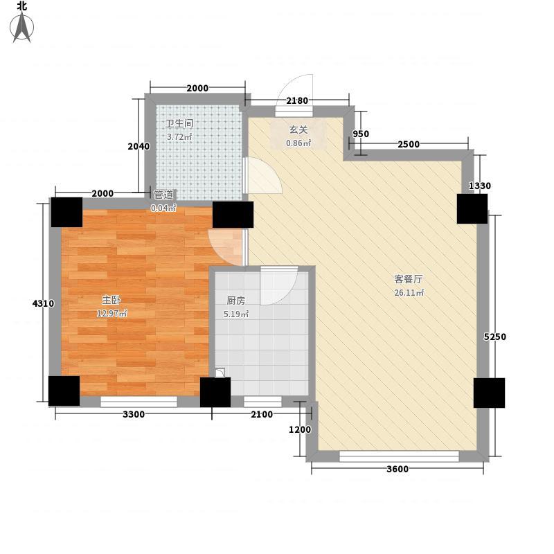 黄金水岸72.73㎡D户型1室2厅1卫1厨