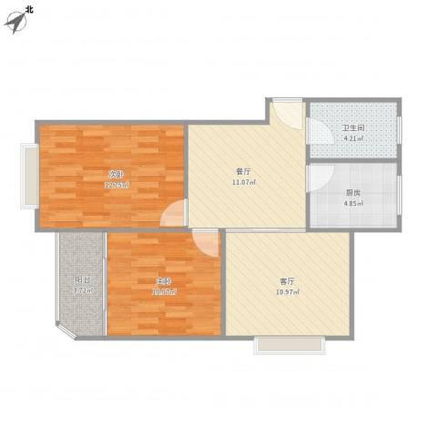 上海壹街区-22-34012室2厅1卫1厨78.00㎡户型图