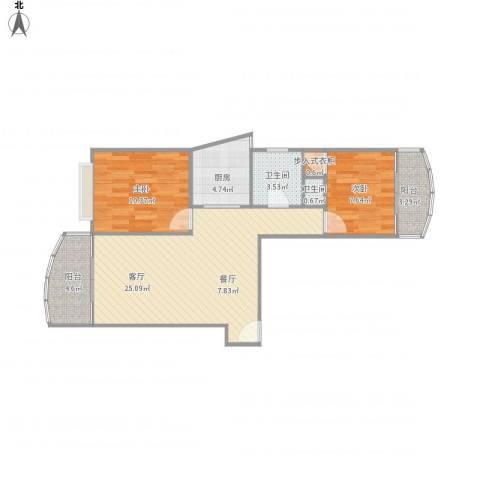 上海壹街区-22-09032室1厅2卫1厨83.00㎡户型图