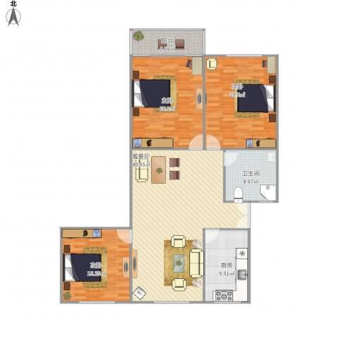 乾骏园3房94平3室1厅1卫1厨158.00㎡户型图