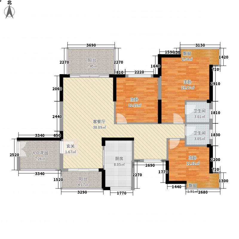 公园一号128.00㎡6号楼B户型4室2厅2卫1厨