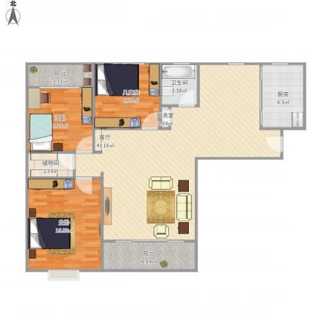 东来苑3室2厅1卫1厨135.00㎡户型图