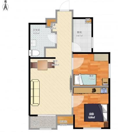 西革新里104号院2室1厅1卫1厨52.10㎡户型图
