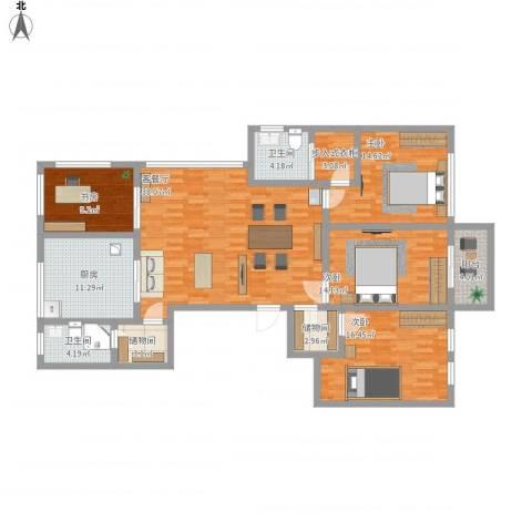 城泰湖韵天成4室1厅2卫1厨180.00㎡户型图