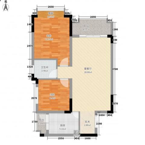 爱加西西里2室1厅1卫1厨66.96㎡户型图