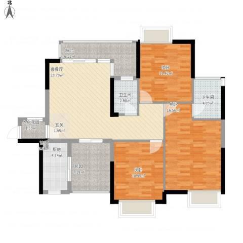 锦龙又一城二期君誉3室1厅2卫1厨127.00㎡户型图