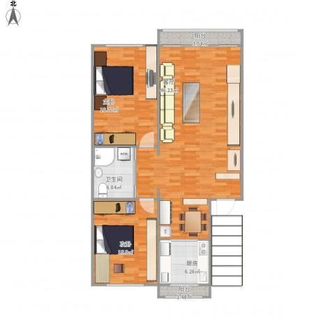华侨新村2室1厅1卫1厨130.00㎡户型图