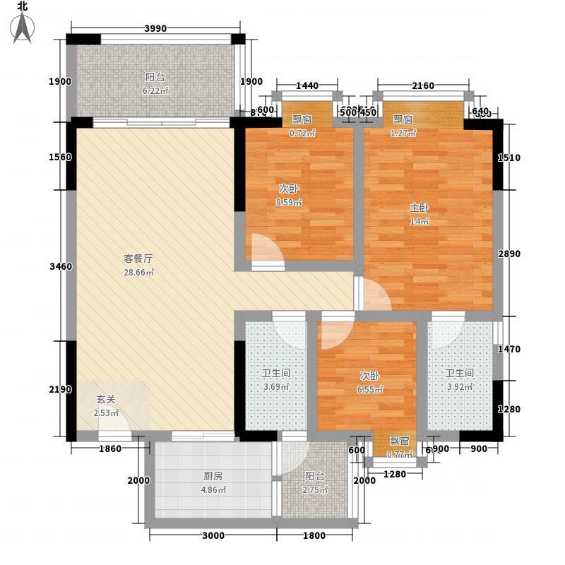 名尚豪苑8.38㎡01单元户型3室2厅2卫1厨