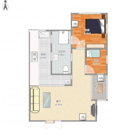 富民花园2室1厅1卫1厨75.00㎡户型图