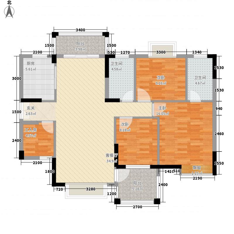 里维埃拉12.14㎡8G型户型3室2厅2卫