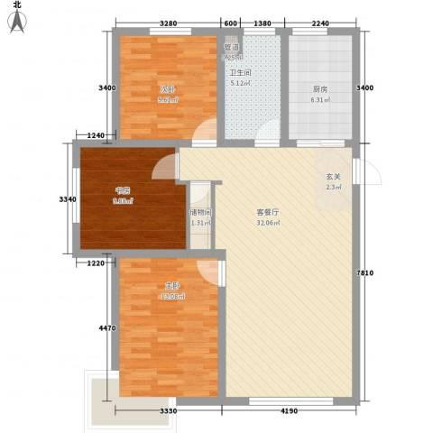 东湖丽景3室1厅1卫1厨117.00㎡户型图