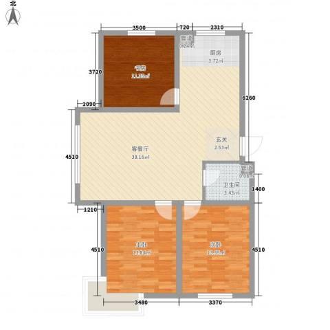 东湖丽景3室1厅1卫0厨122.00㎡户型图