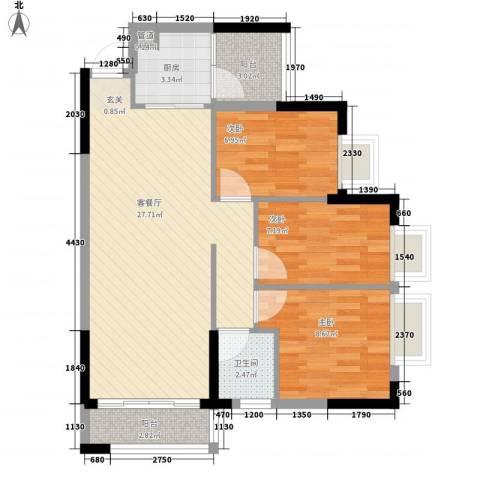 美的简岸花园3室1厅1卫1厨71.00㎡户型图