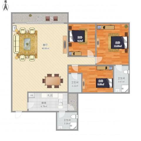 名苑小区二区nu766493室1厅3卫1厨125.00㎡户型图