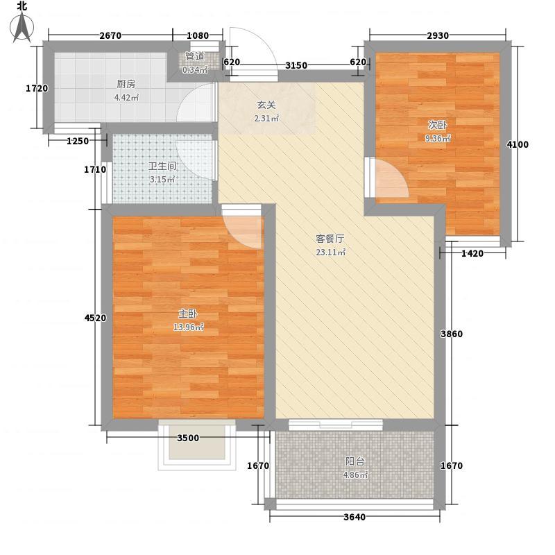 日百・五莲新玛特花园85.00㎡户型2室2厅1卫