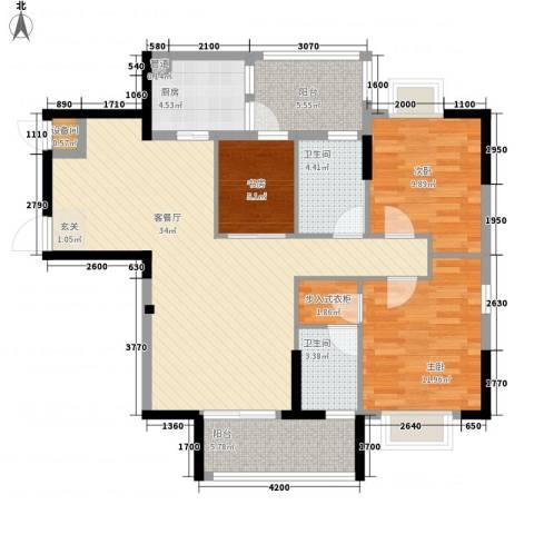 星湖八号3室1厅2卫1厨131.00㎡户型图